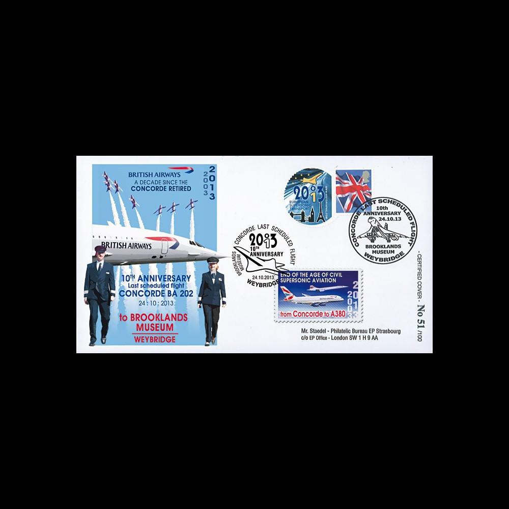 """CO-RET56 : 2013 - ROYAUME-UNI FFC """"10 ans dernier vol avion Concorde / Red Arrows"""""""