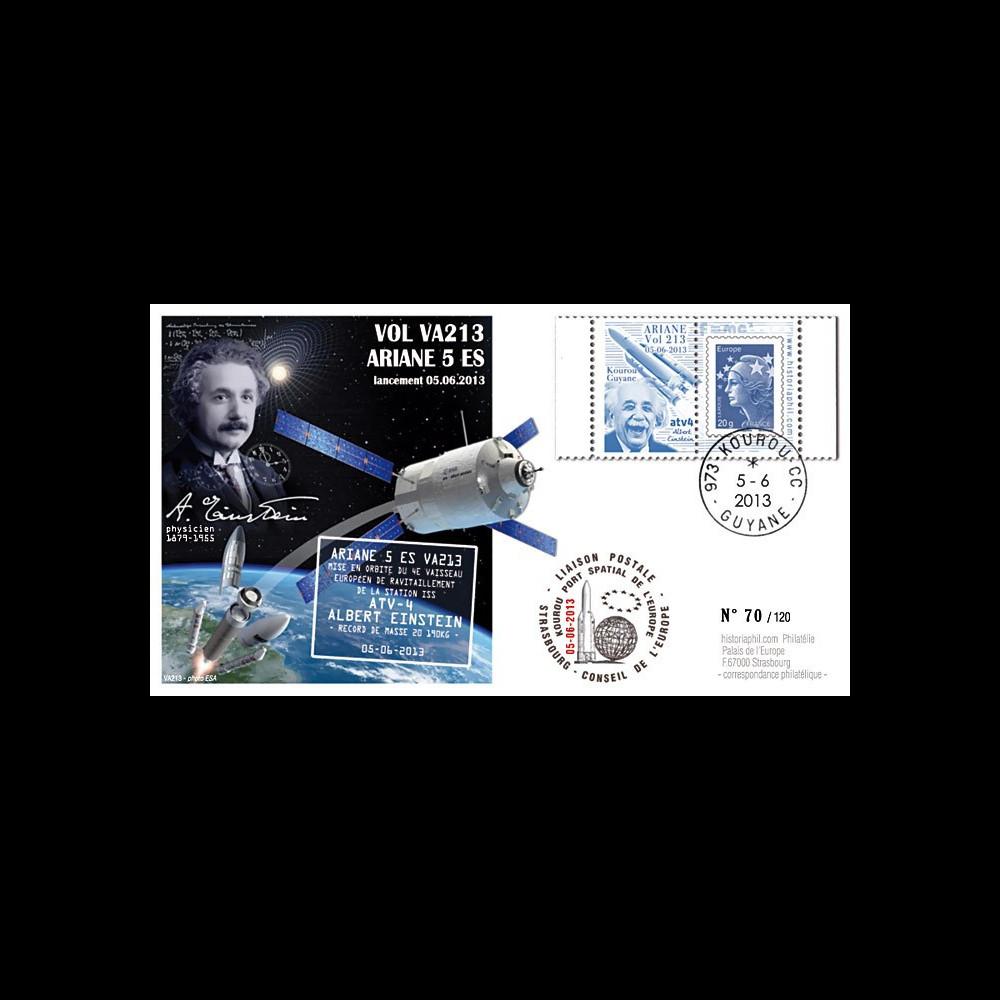 """VA213L-T1 : 2013 - FDC Kourou ARIANE 5 """"Vol 213 - cargo spatial ATV 4 Albert Einstein"""""""