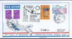 """A380-4T2 : 2005 - Pli France """"1er vol d'essai du prototype 001 de l'A380"""""""