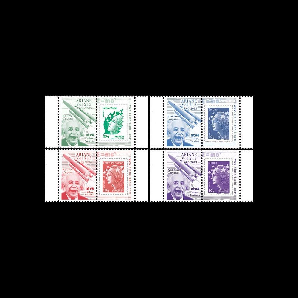 """VA213L-PT1/4 : 2013 - 4 Marianne sur porte-timbres """"Vol 213 Ariane - ATV4 Albert Einstein"""""""