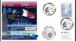 """VA215L-T2 : 2013 - FDC Kourou ARIANE 5 """"Vol 215 - sat. EUTELSAT 25B/Es'hail 1 et GSAT-7"""""""