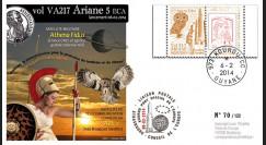 """VA217L-T1 : 2013 - FDC Kourou ARIANE 5 """"Vol 217 - satellites ABS-2 et Athena Fidus"""""""