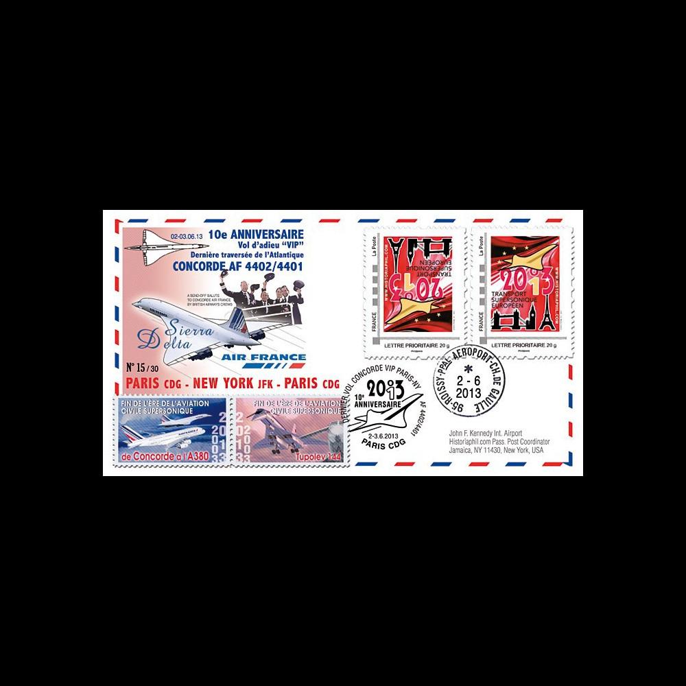 """CO-RET50V : 2013 FFC """"10 ans dernier vol VIP Concorde AF Paris-New York-Paris"""" / variété"""