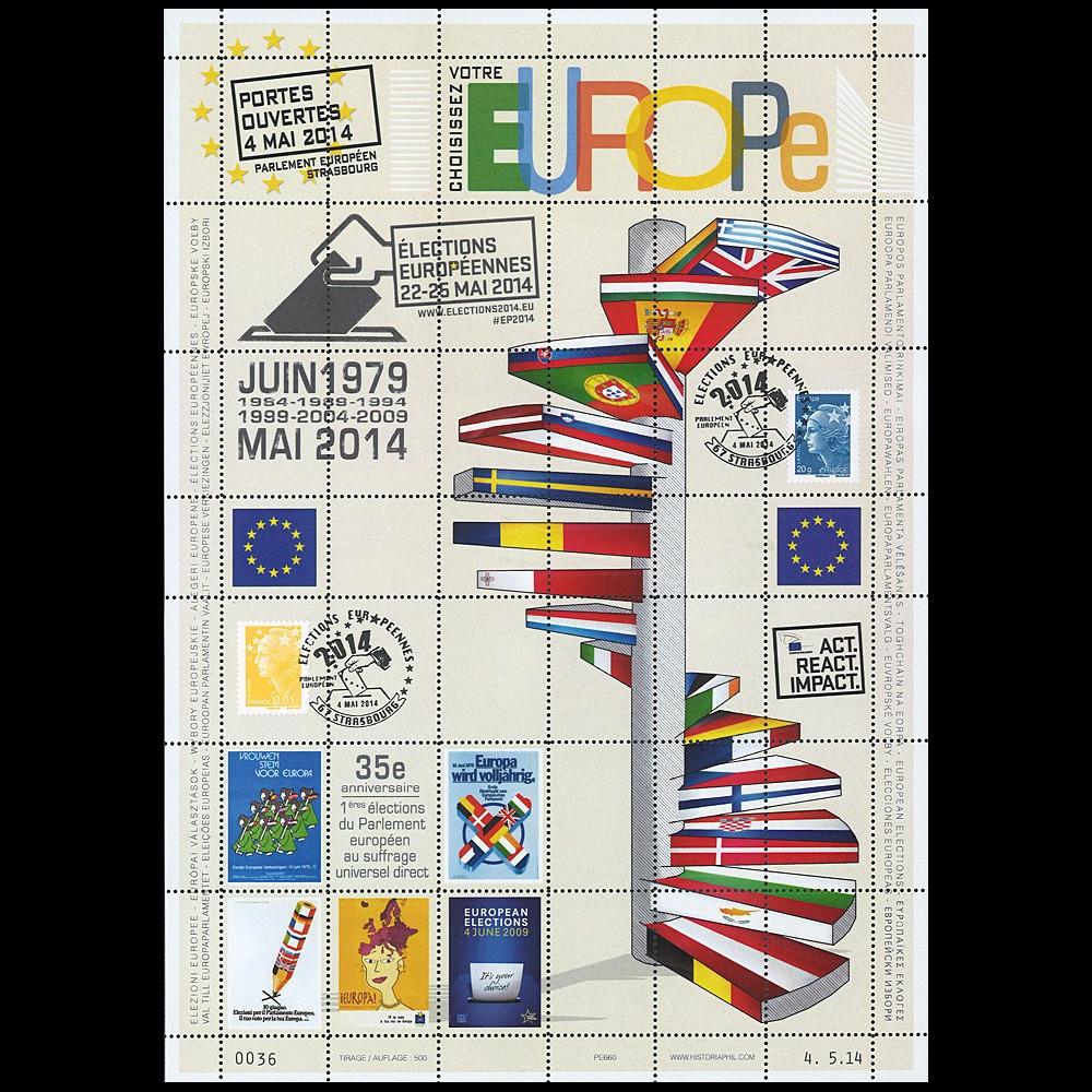 """PE660 : 2014 - Feuillet """"Portes ouvertes au Parlement européen / Élections Européennes"""""""