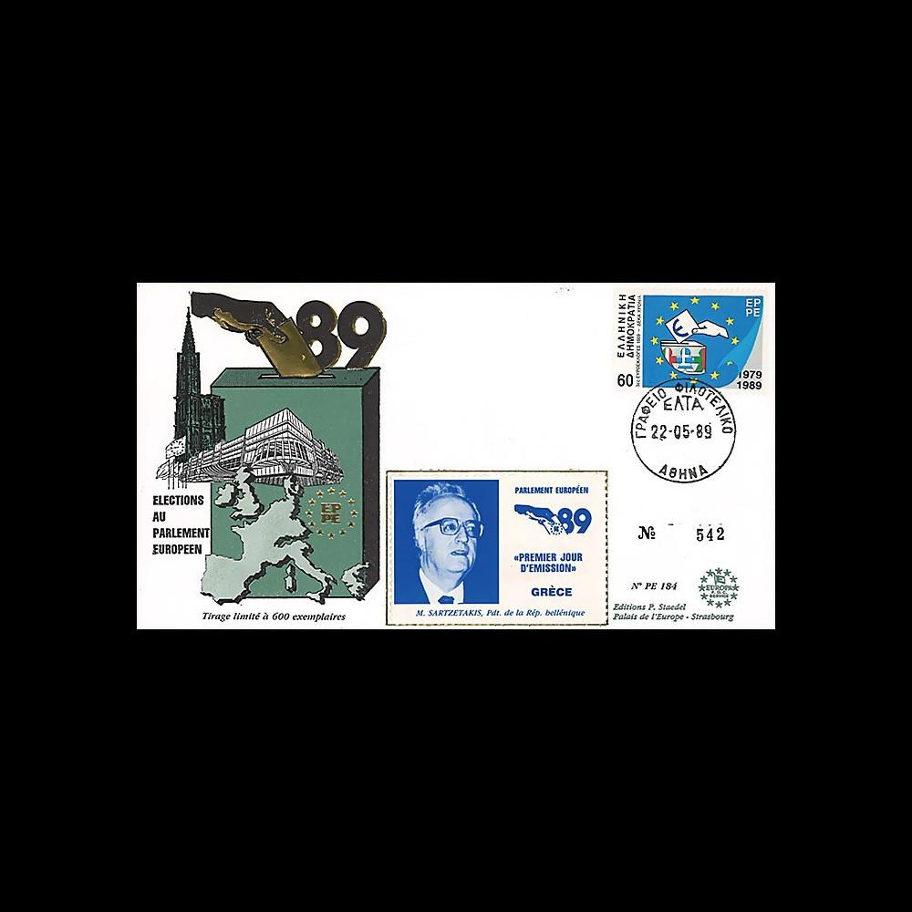 """PE184 : 1989 - FDC Parlement européen """"Élections Européennes / SARTZETAKIS"""