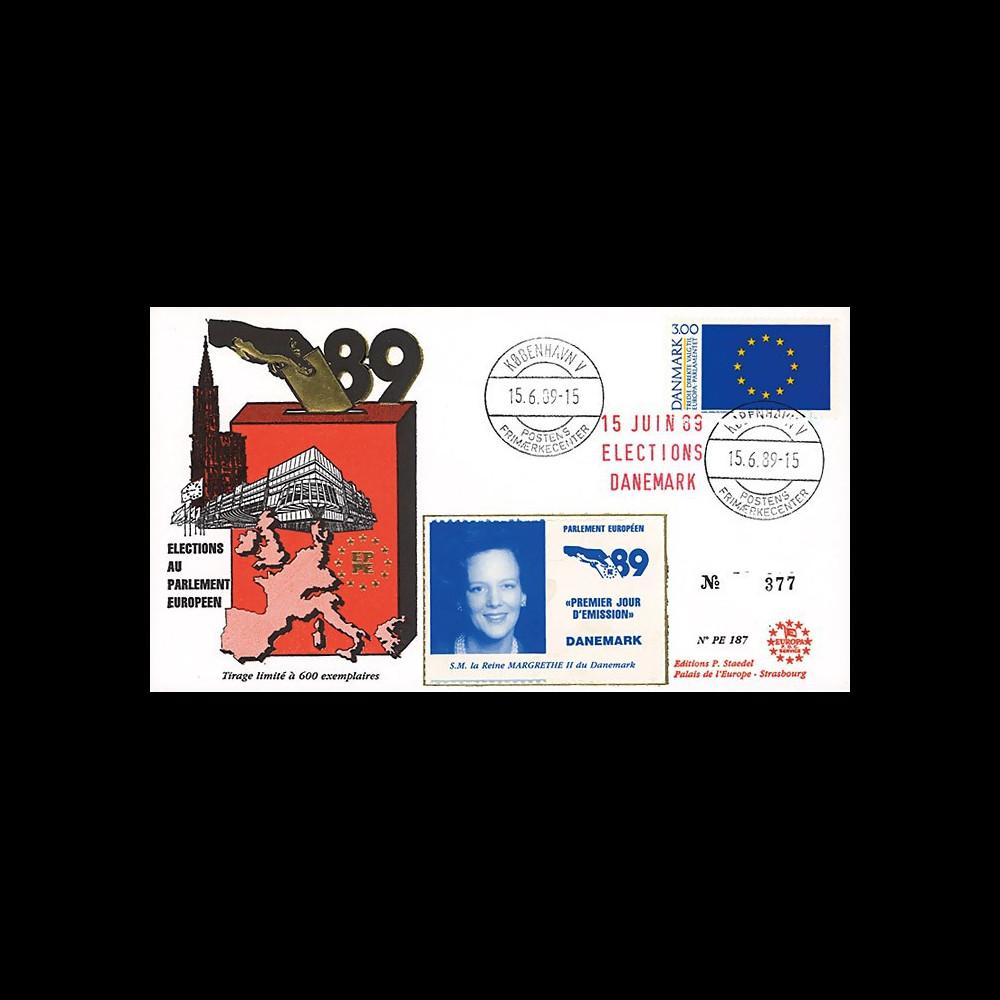 """PE187 : 1989 - FDC Parlement européen """"Élections Européennes / MARGRETHE II"""