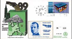 """PE190 : 1989 - FDC Parlement européen """"Élections Européennes / JUAN CARLOS 1er"""