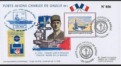 """PADG03T1 : 2003 - FDC """"1er Jour TP Porte-avions de Gaulle"""" Toulon Armées"""