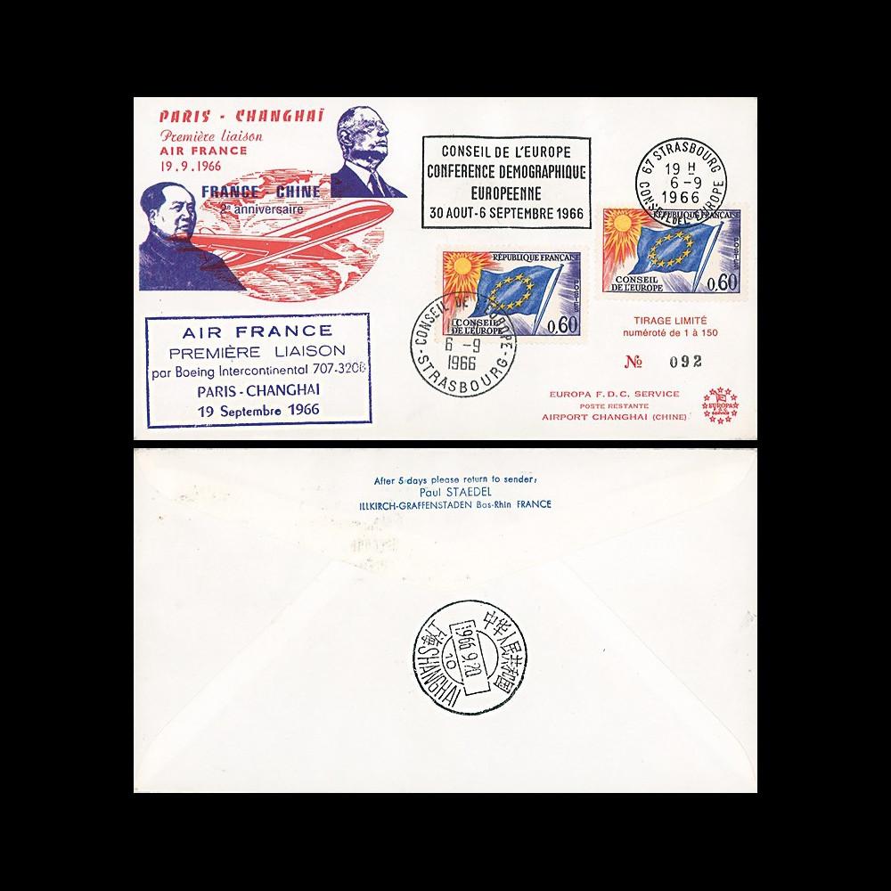 "AE19 : 1966 - FFC ""de Gaulle et Mao - 1er vol Air France Paris-Shanghai"" sur Boeing 707"