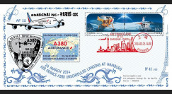 """A380-244 : 2014 - FDC """"Vol A380 Shanghai-Paris / atterrissage forcé à Hambourg / Soyouz"""""""