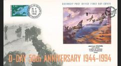 "DEB94-GUL : 1994 - FDC Gde-Bretagne / Guernsey ""50 ans Débarquement en Normandie"""
