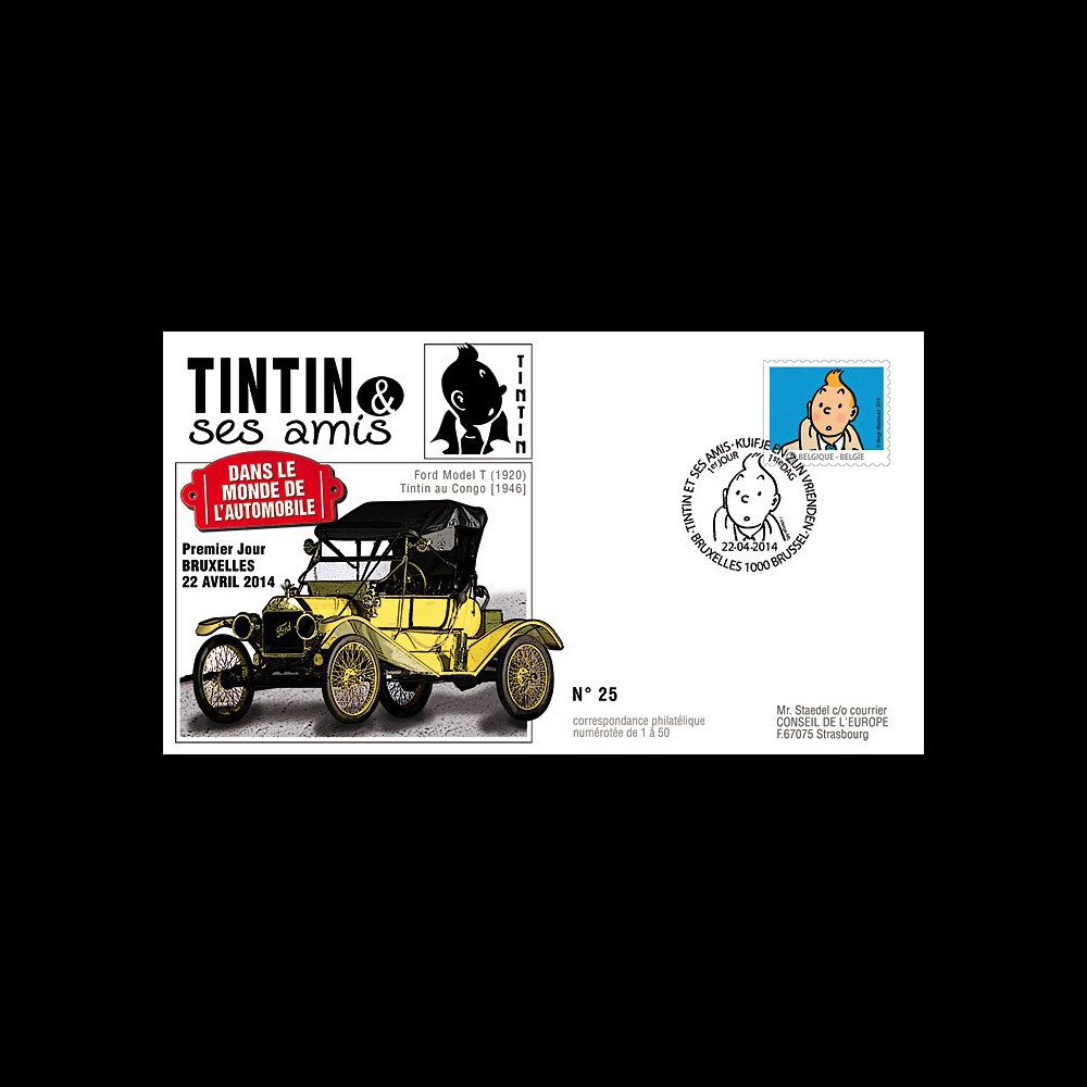 """TIN14-1 : 2014 - Belgique FDC 1er Jour """"Tintin & ses amis / Ford Model T / Tintin au Congo"""""""