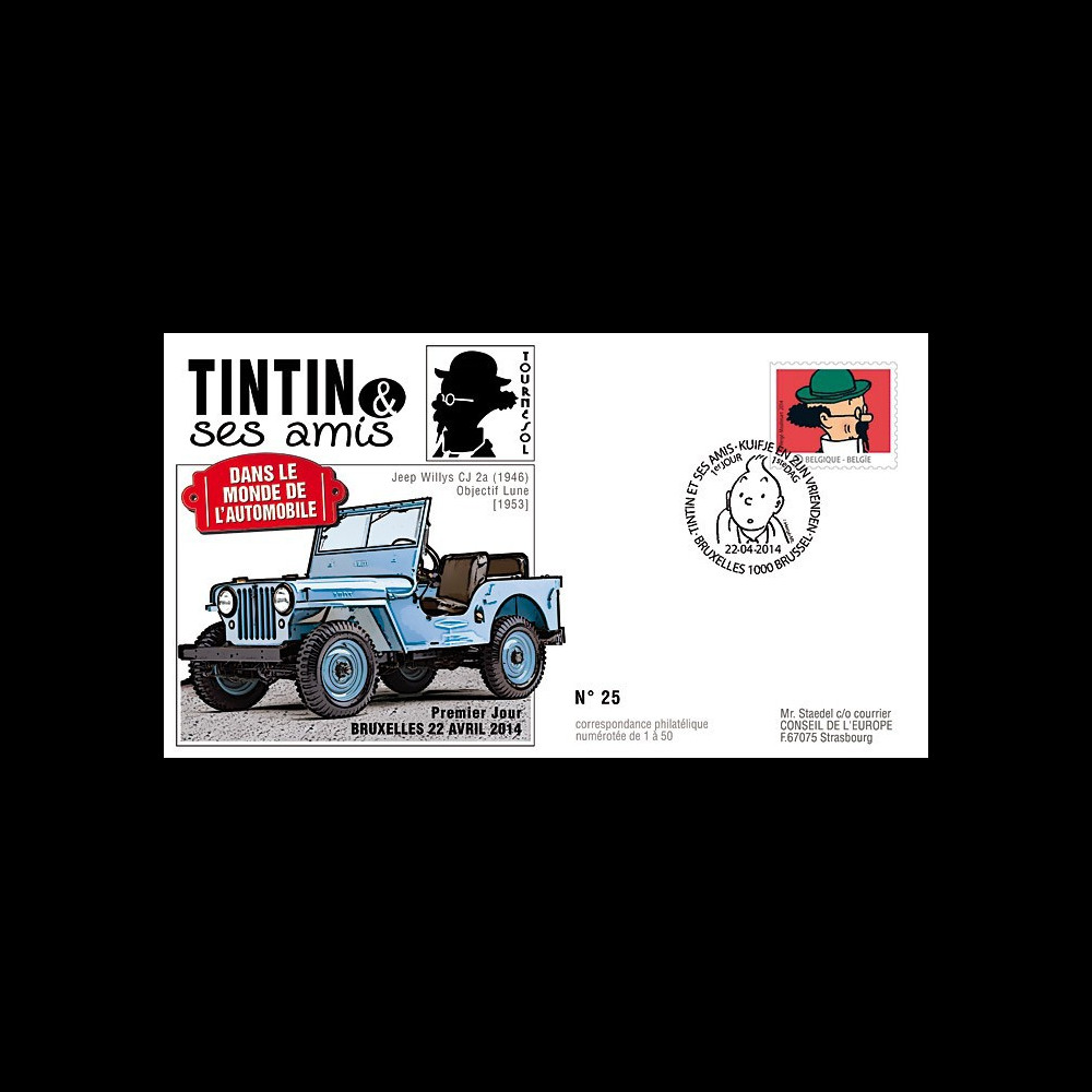 "TIN14-3 : 2014 - Belgique FDC 1er Jour ""Tintin & Tournesol / Jeep Willys / Objectif Lune"""