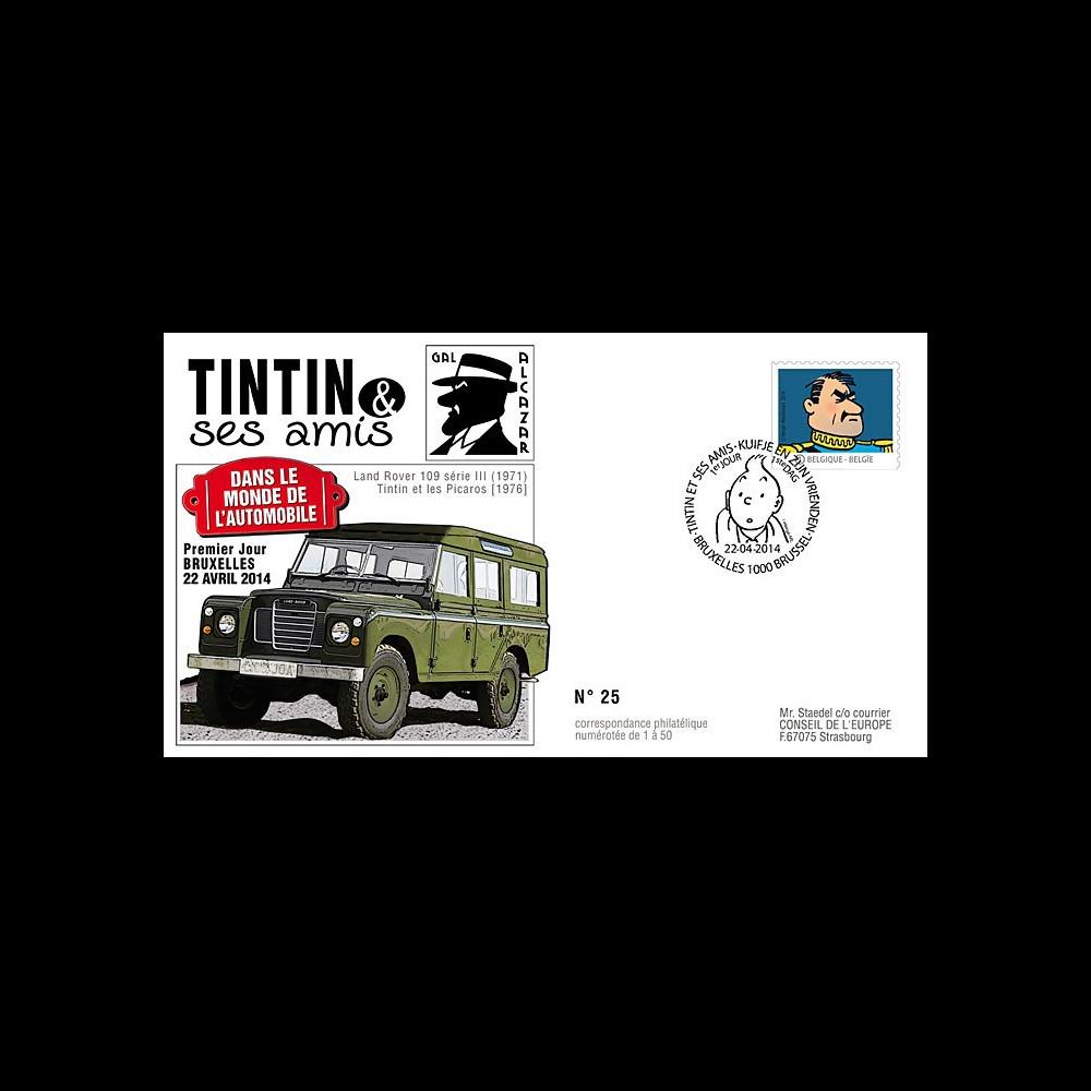 TIN14-5 : 2014 - Belgique FDC 1er Jour Tintin & Alcazar / Land Rover / Tintin & les Picaros