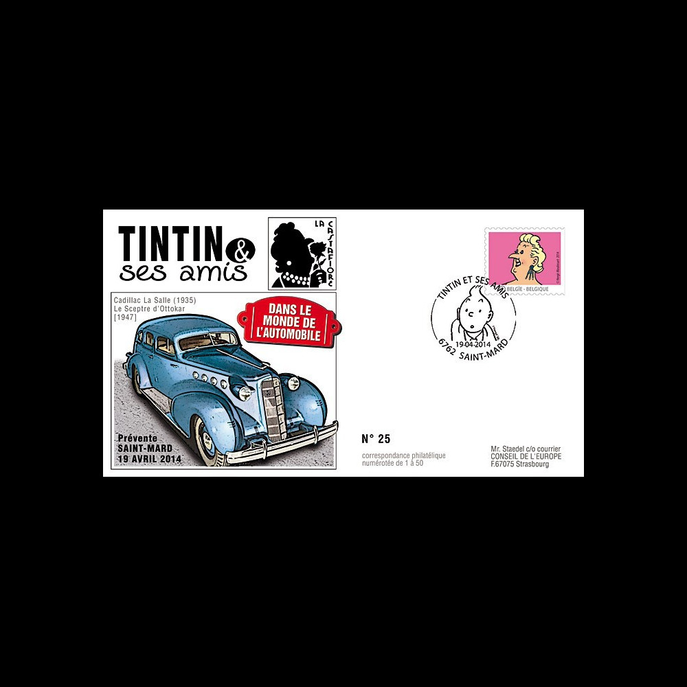 """TIN14-6 : 2014 - Belgique FDC 1er Jour """"Tintin & Castafiore / Cadillac / Sceptre d'Ottokar"""""""