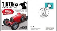 """TIN14-7 : 2014 - Belgique FDC 1er Jour """"Tintin & Milou / Bugatti / Au Pays de l'Or Noir"""""""