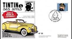 "TIN14-8 : 2014 - Belgique FDC 1er Jour ""Tintin & Haddock / Lincoln / 7 Boules de Cristal"""
