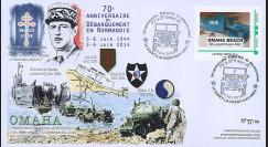 """DEB14-02 : 2014 - FDC """"70 ans Débarquement en Normandie / DE GAULLE & Jeep Willys"""""""