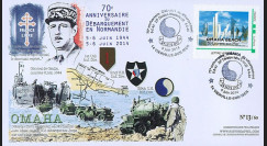 "DEB14-03 : 2014 - FDC ""70 ans Débarquement en Normandie / OMAHA BEACH - DE GAULLE"""