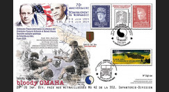 "DEB14-04 : 2014 : Maxi FDC ""70 ans D-DAY / OMAHA : La Sanglante / HOLLANDE & OBAMA"""