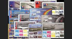 CO-E1-6 : 2005 - Série complète des 18 feuillet de L'épopée de Concorde
