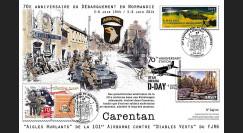 """DEB14-05 : 2014 : Maxi FDC FRANCE-JERSEY """"70 ans Débarquement en Normandie - Bataille de Carentan"""""""
