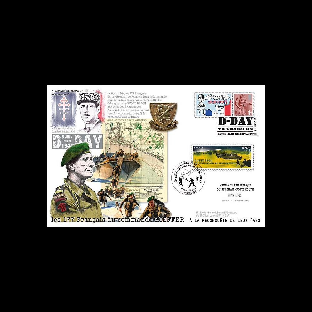 "DEB14-07 : 2014 : Maxi FDC FRANCE - ROYAUME-UNI ""70 ans D-DAY - Commando KIEFFER / DE GAULLE"""
