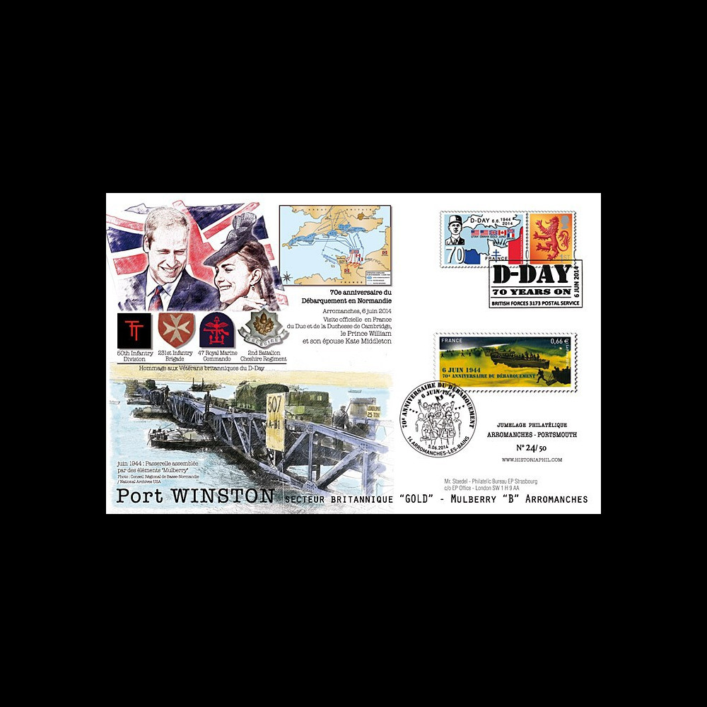 "DEB14-09 : 2014 : Maxi FDC FRANCE-ROYAUME-UNI ""70 ans D-DAY / WILLIAM & Kate MIDDLETON"""