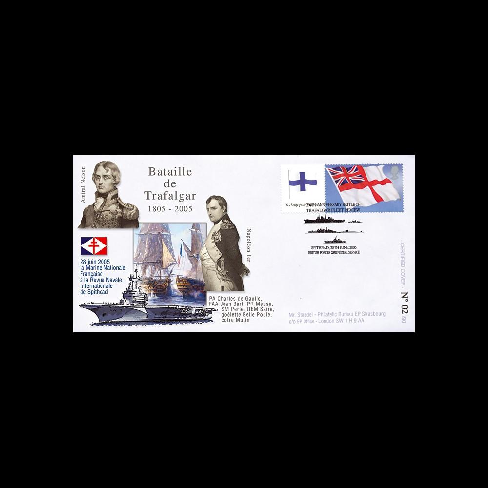 """TRA05-1 : 2005 - FDC """"200 ans Bataille de Trafalgar"""" - oblit. Poste aux Armées type1"""