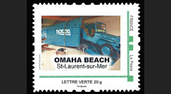 "DEB14-02N : 2014 - Timbre personnalisé ""70 ans D-DAY / OMAHA BEACH - Jeep Willys"""