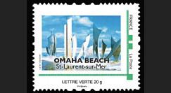 "DEB14-03N : 2014 - Timbre personnalisé ""70 ans D-DAY / OMAHA BEACH - Monument Les Braves"""