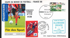 "FIFA98-8 : FDC ALLEMAGNE-FRANCE ""Coupe FIFA 1998 - 1/4 Finale Allemagne-Croatie"""