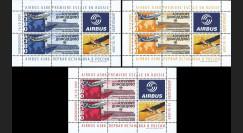 """A380-84BD : 2009 - 3 blocs de vignettes """"1er atterrissage d'un A380 à Moscou-Domodedovo"""""""