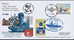 """PADG03T4 : 2003 - FDC """"1er Jour TP Porte-avions de Gaulle"""" Paris Armées"""