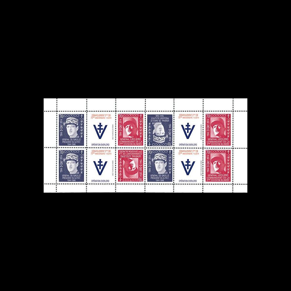 """DEB14-20FD : 2014 - Feuillet 12 vignettes """"70 ans D-DAY : DE GAULLE & LECLERC / WWII"""""""