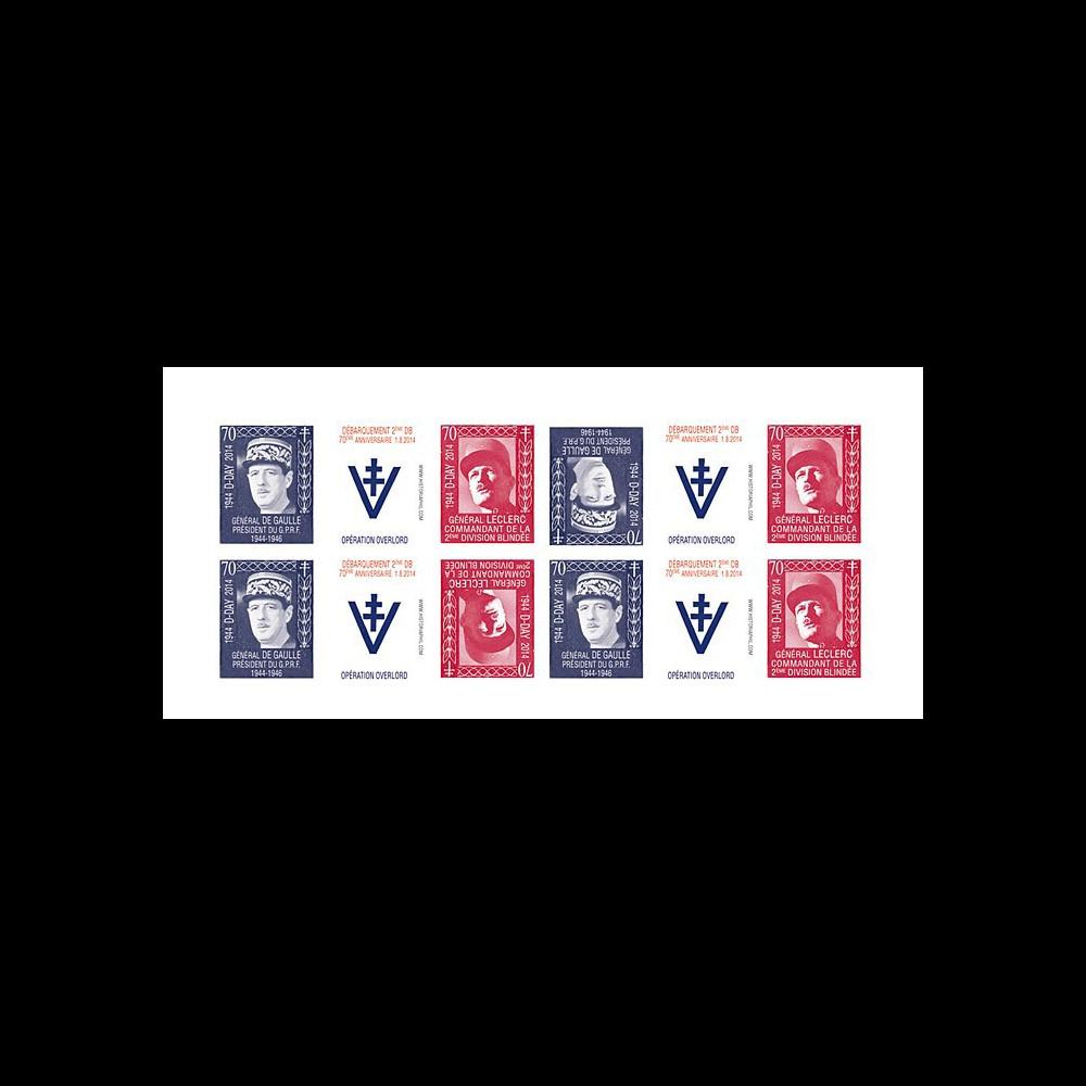 """DEB14-20FND : 2014 - Feuillet 12 vignettes ND """"70 ans D-DAY : DE GAULLE & LECLERC / WWII"""""""