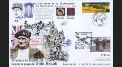 "DEB14-23 : 2014 - Maxi FDC FRANCE - JERSEY ""70 ans D-DAY : Libération Bayeux - GOLD BEACH"""