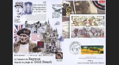 "DEB14-24 : 2014 - Maxi FDC FRANCE - ILE DE MAN ""70 ans D-DAY : Libération Bayeux / WWII"""