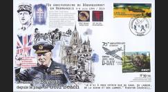 "DEB14-25 : 2014 - Maxi FDC FRANCE - JERSEY ""70 ans D-DAY / DE GAULLE & CHURCHILL"
