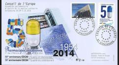 """CE65-PJ : 10-2014 - FDC Conseil de l'Europe """"1er Jour Timbres service - 50 ans DEQM"""""""