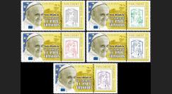 """PE666-PT1/5 : 25.11.2014 - 5 porte-timbres """"Visite Pape François au Parlement européen"""""""
