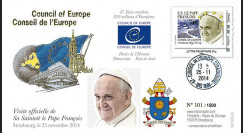 """CE65V-1 : 25.11.2014 - FDC Conseil de l'Europe """"Visite officielle de S.S. le Pape François"""""""