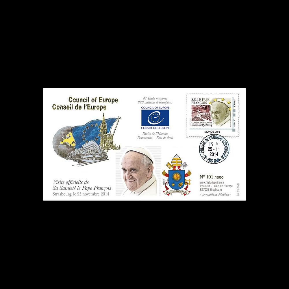 """CE65V-3 : 25.11.2014 - FDC Conseil de l'Europe """"Visite officielle de S.S. le Pape François"""""""