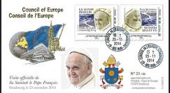 """CE65V-1V : 11-2014 - FDC Conseil Europe VARIETE """"Visite officielle de S.S. le Pape François"""""""