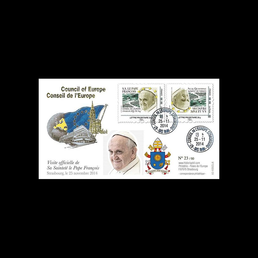 """CE65V-2V : 11-2014 - FDC Conseil Europe VARIETE """"Visite officielle de S.S. le Pape François"""""""