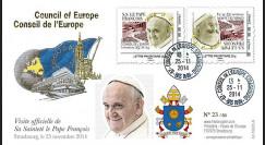 """CE65V-3V : 11-2014 - FDC Conseil Europe VARIETE """"Visite officielle de S.S. le Pape François"""""""