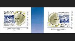 """CE65-V-1VN : 2014 - 2 TPP tête-bêche """"Visite Pape François au Conseil de l'Europe"""" bleu"""