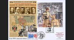 "CENT14-01 : 2014 - Maxi-FDC Autriche-France ""Centenaire 14-18 / Attentat de Sarajevo"""