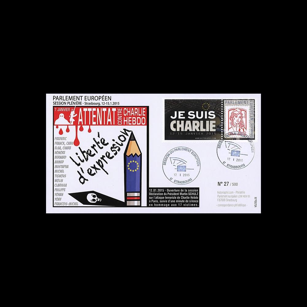 "PE670A : 01-2015 - FDC Parlement européen ""Hommage Charlie Hebdo - JE SUIS CHARLIE"""