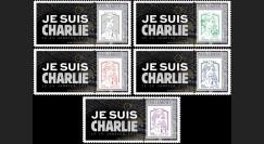 """PE670-PT1/5 : 2015 - 5 porte-timbres session Parlement européen """" Je suis Charlie """""""